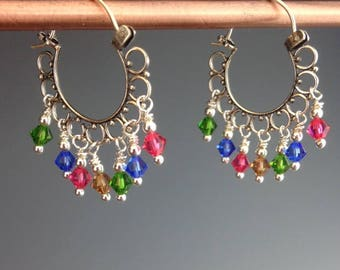 Multi color Chandelier Earrings - Swarovski Earrings - Sterling hoop Earrings - Colorful Jewelry - Dangle Earrings - Garden Chandelier