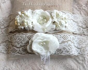 Ivory Garter, wedding garter, lace garter, wedding garter, garter set, elegant wedding garter, white garter, ivory garter set, bridal garter