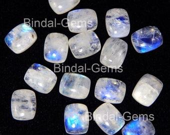 10 Pieces Rainbow Moonstone 10X14 MM Gemstone Octagon Cushion Cabochon