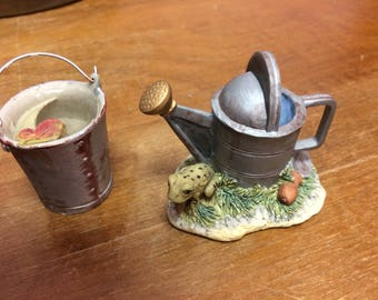 Vintage water can and bucket figurines. Lowell Davis, scotland.  Schmid. 1981