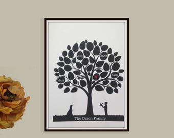 Family tree papercut - personalised modern tree design wall art decor