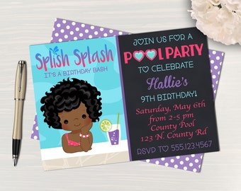 Pool Party Birthday Invitation // Girl Pool Party // Digital Pool Party Invitation // Swim party