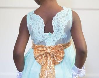 Mint and gold dress, flower girl  dress, Mint flower girl dress, Sequin dress, Cake smash, Birthday dress, Gold bow dress, Girls dress