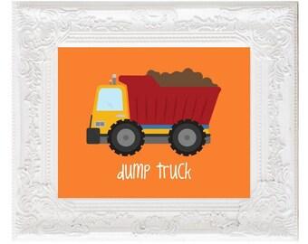Construction Dump Truck Nursery Print, Truck sign, construction vehicle decor, kids printables, construction posters playroom, DIGITAL FILES