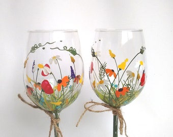 """Wine Glasses,Hand Painted Wine Glasses,Keepsake,Gift Idea,Christmas Gift,Gift for Mom, Gift for Her -- """"Bouquet of wildflowers"""" -- Set of 2"""