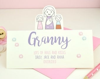 Grandma's card - Mother's Day - Personalised granny card - grandmother - card