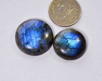 2 Pcs Blue Fire Labradorite Cabochon Spectrolite Blue Fire Flash Smooth Gemstone,27mm,89Cts Labradorite Jewelry Making Gemstone#3679