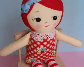 Red-haired Ragdoll - Handmade cloth doll heirloom rag doll - Ready to Ship!