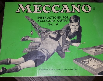 Vintage meccano booklet outfit no. 1A illustrations, vintage toy, construction toy