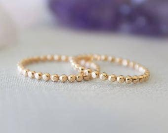 Gold Stacking Ring, 14k GF Bead Ring, Stackable Bead Ring, Minimalist Jewelry, Connected Dot ring, Etsy Gifts , Boho Ring, Dainty Ring