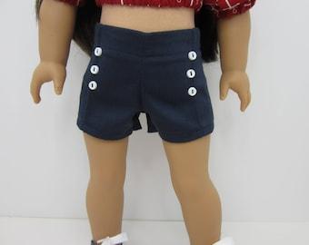 18 inch  doll clothes -  Navy blue  pin tuck shorts.