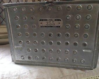 Metal Vintage Locker Basket Made by Lyons Company Gym Locker Baskets, Swimming Pool Baskets
