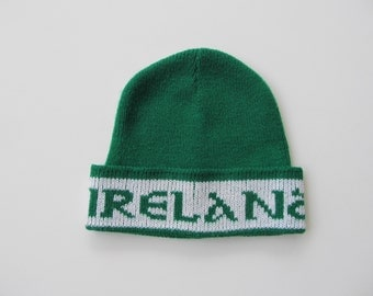 Vintage 70's 80's Saint Patrick's Day Knit Hat Ireland/Shamrocks
