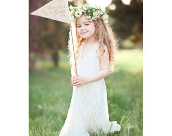 Here Comes The Bride Sign-Wedding, Flower Girl, Bridesmaid, Burlap Wooden Painted, Pennant Flag