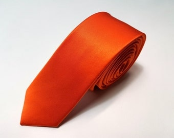 SKINNY Silk Tie in Bright Orange