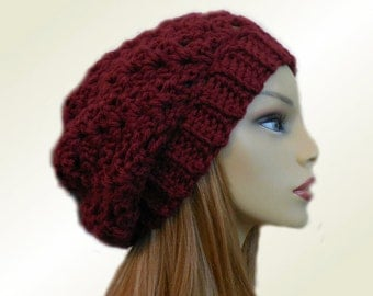 Burgundy SLOUCHY BEANIE HAT Chunky Crochet Knit Slouchie Beanie Mulberry Wool hat Slouch Beany Women Hats Womans Accessories Winter Hat