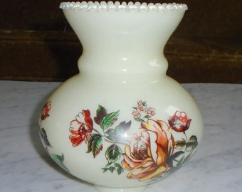 Vintage Flowered Custard Glass Hurricane Shade Cover for Light Fixture or Sconce