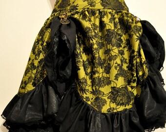 Mid length skirt steampunk (green/black)