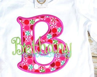 Girls Christmas shirt personalized, Peppermint Christmas Outfit, baby girl Christmas outfit!  Monogrammed Christmas Outfit