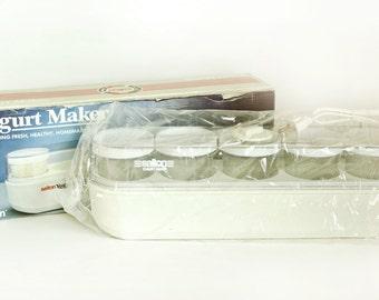 New in Box Vintage Salton Yogurt Maker, 1980s Electric Yoghurt Machine Kitchen Gadget, Model GM-5 W