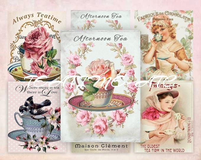 Digital Teacups with Roses, Tea, Teatime Digital Collage Sheet ATC, Shabby Chic Vintage Tea, Printable Download Scrapbooking