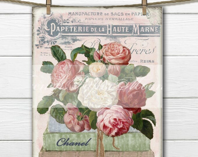 Vintage Digital Chanel Image, Shabby Flowers, Books, French Pillow Transfer, Large Instant Download Graphic