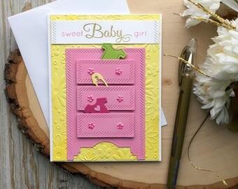 Baby Shower Card - Handmade Card - Dresser Baby Shower Card - Baby Shower Cards - Girl Baby Shower Card- Baby Girl Card - Baby Cards, Gifts