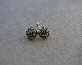 """Earrings collection""""textiles""""tone black, yellow and white, cloth Liberty buttons"""