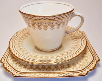 Vintage Aynsley China trio - teacup, saucer and plate - cream & gold  -  Aynsley duo - teacup and saucer - teacup - wedding - Baby shower