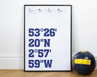 Everton Football Stadium Coordinates Posters