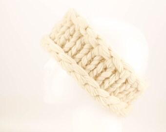 Super Chunky Pure Cashmere Hand Knit Headband, Winter Bride Headband, Thick Warm Headband, Upcycled Eco Ear Warmer, Bridal Ivory Cream