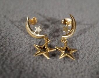 Vintage 10 K Yellow Gold Pierced Earrings Fancy Moon Star Celestial Design Dangle Charm Drop Style      #1172