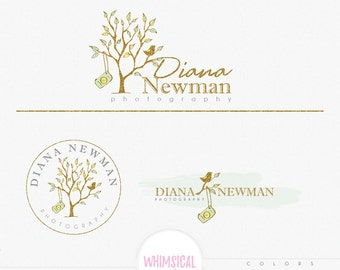 A Camera and a Bird  -Premade Photography Logo and Watermark, Classic Elegant Script Font GOLD GLITTER TREE children Calligraphy Logo