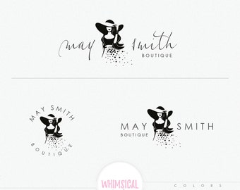Fashion Sketch Logo - Lady wearing a hat - Fashion illustration - sketchy logo style - Pretty women wearing dress and hat