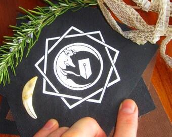 Black Occult Moon Sigil Patch