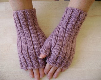 Fingerless Gloves/ Handwarmers in Pinkish Purple. Hand-Knit.Ready to Ship.