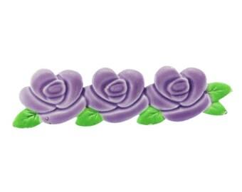 Purple Enamel Flower Brooch, Purple Flower Brooch, Purple Bar Brooch, Purple Flower Pin, Enamel Flower Pin