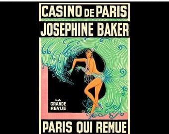 Josephine Baker 1930 Casino De Paris Vintage Poster Print Theater Cabaret Advert Free US Post Low EU Post