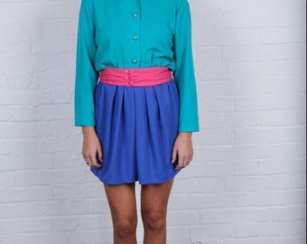 1980's Rad Petite Block Colour Bright Dress