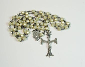 Catholic Rosary Sterling Silver Cultured Pearls Fleur de Lis Crucifix Bridal Heirloom Religious Prayer Beads