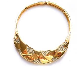 Vintage 1970s Gold and Rhinestone Choker