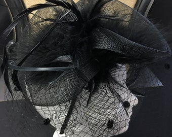 Vintage inspired black feather tulle satin headband fascinator