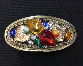 Vintage jewel encrusted baroque oval hair barrette clip