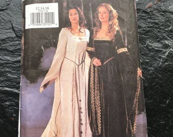 Historical Costume Dress Gown Pattern // Butterick 3552, Sz 12-14-16 > unused > party, medieval, renaissance