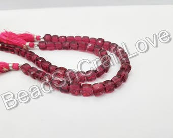Pink Quartz  3D cube or Box shape Faceted  Beads, approx 7-8mm, 12 pieces   AAA quality