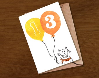 13th birthday card, 14th birthday card, 15th birthday card, age 13 birthday card, age 14 birthday card, age 15 birthday card, cute,age cards