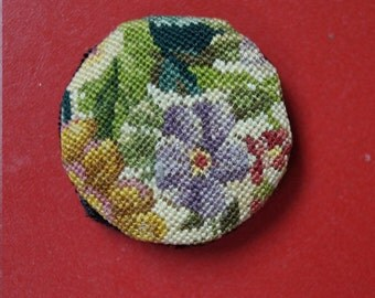 SALE! Dollhouse Miniature Petit Point Pillow--Round Floral