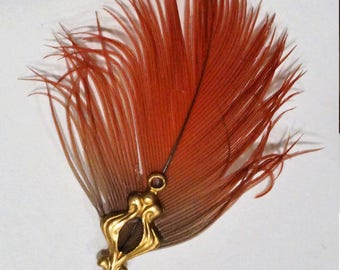 Miniature  Feather Fan; Red