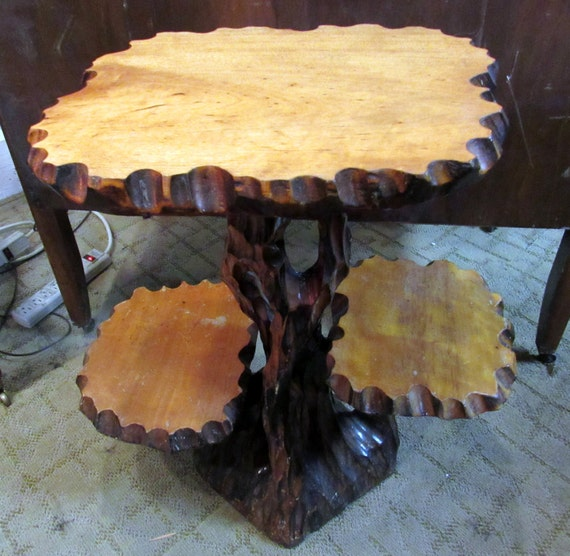Rustic driftwood table with three tiers