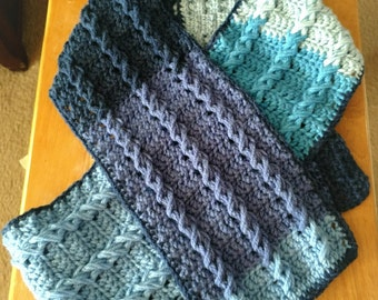 Multi Blue Cable Scarf